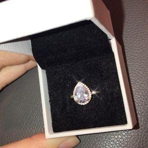Rose Gold Sparkling Teardrop Halo Ring